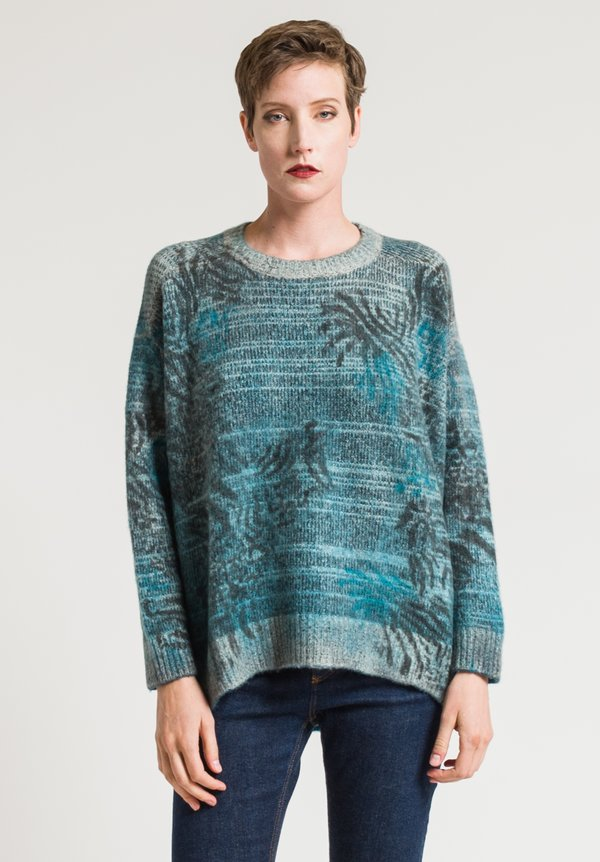 Avant Toi Animal Print Sweater in Turchese