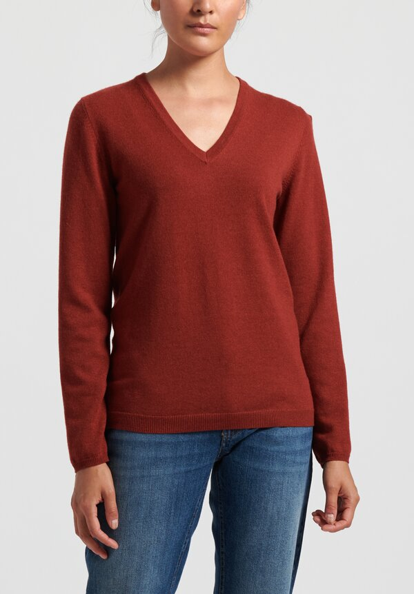 Brunello Cucinelli V-Neck Sweater in Rouge
