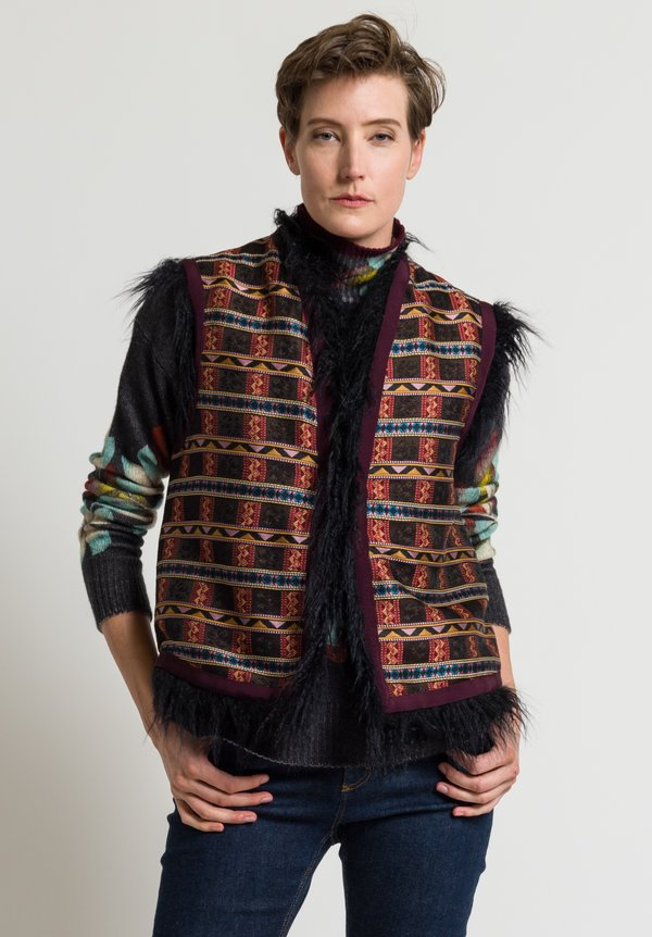 Etro Faux-Fur Ribbon Vest in Plum