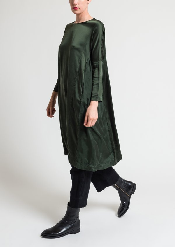 Casey Casey Washed Silk Ruche Dress in Moss