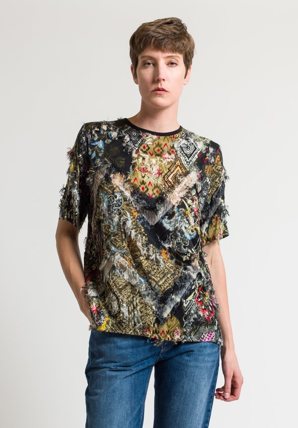 Etro Frayed Paisley Printed Top in Black