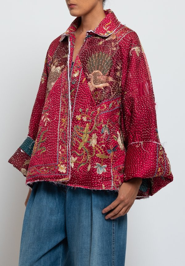 By Walid Judy Piano Shawl Coat in Red