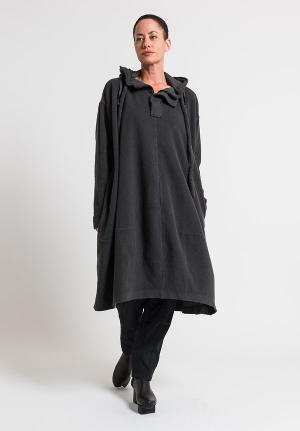 Rundholz Black Label Oversized Cotton Fleece Hooded Dress in Anthra