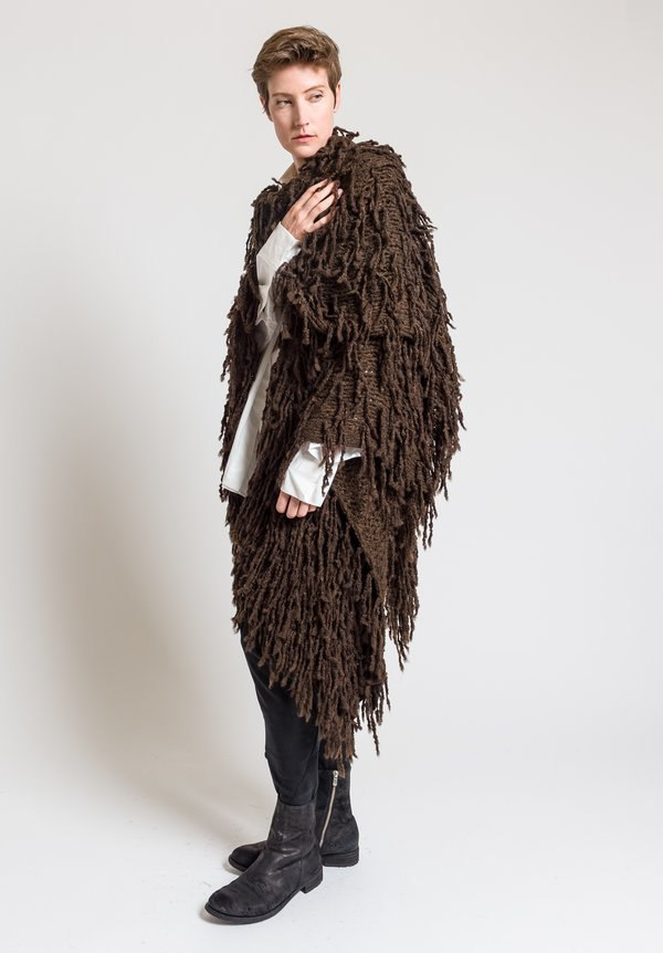 Urban Zen Shaggy Poncho in Bronze