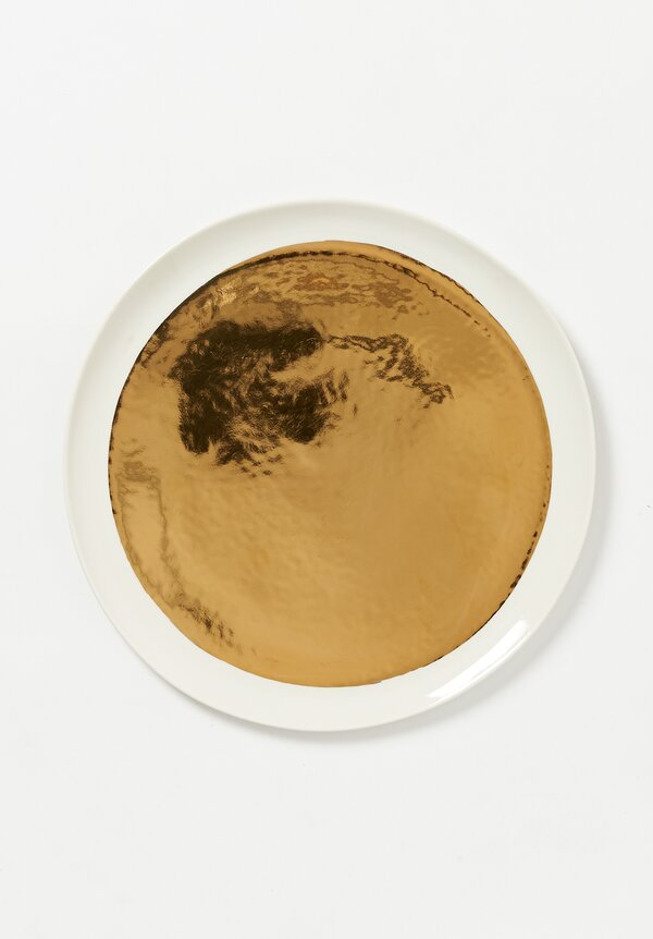 Bertozzi Handmade Porcelain Metallic Painted Dinner Plate in Gold