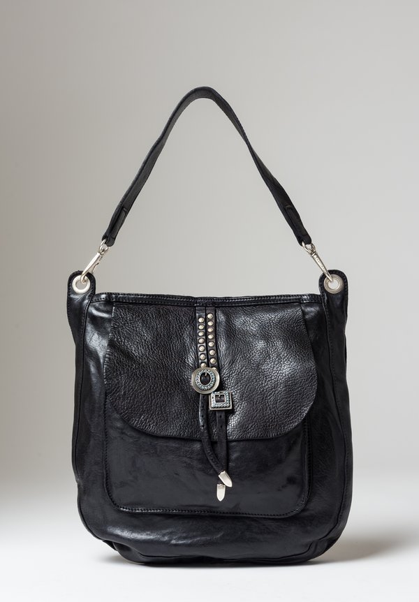 Campomaggi Double Turquoise Buckle Shoulder Bag in Black