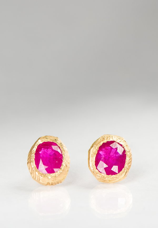 Page Sargisson 18K, Brushed Bezel Ruby Earrings