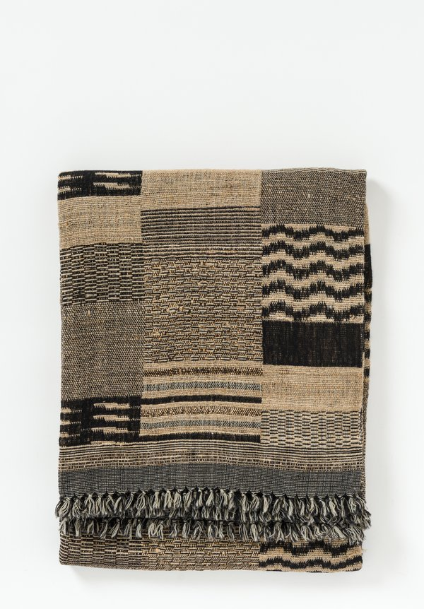 Neeru Kumar Wool / Silk Fringe Throw in Black / Sand