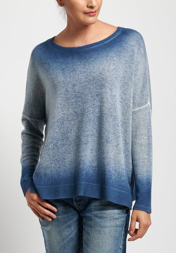 Avant Toi Cashmere Relaxed Lightweight Sweater in Denim