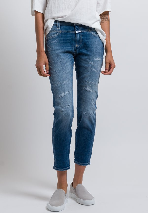 Closed Distressed Pusher High-Rise Jeans in Mid Blue