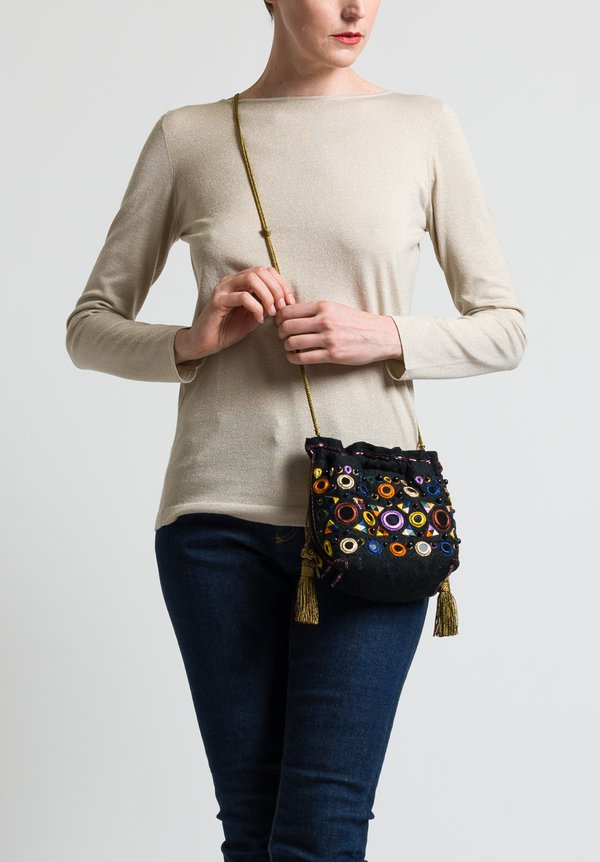 Etro Silk Embroidered and Beaded Crossbody Bag in Black