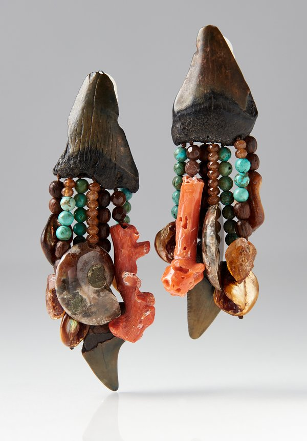 Monies UNIQUE Shark Tooth, Turquoise, Coral, Ammonite Clip-Ons