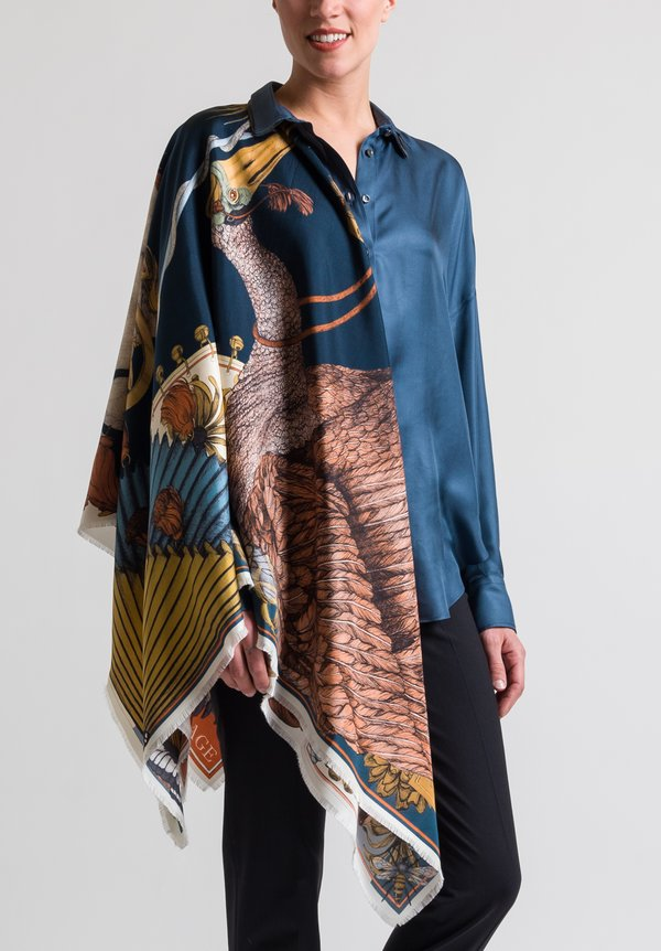 Sabina Savage Silk Twill Spoonbill and Jindo Scarf in Indigo / Chilli
