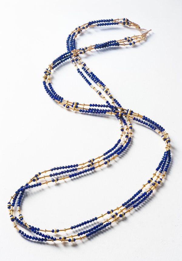 Greig Porter 18K, 3 Strand Faceted Lapis Necklace