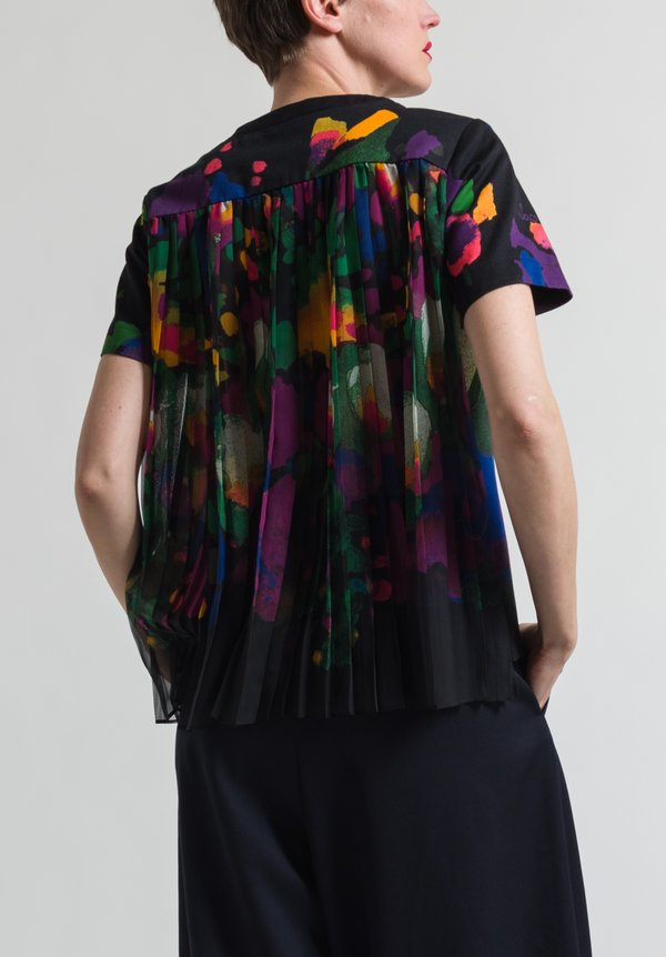 Sacai Pleated Back Flower Top in Black