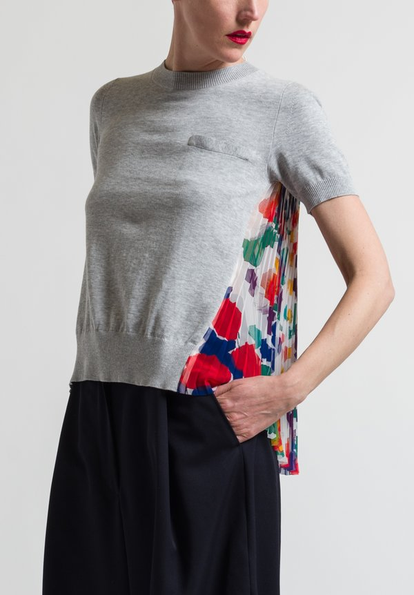 Sacai Pleated Flower Back Top in White