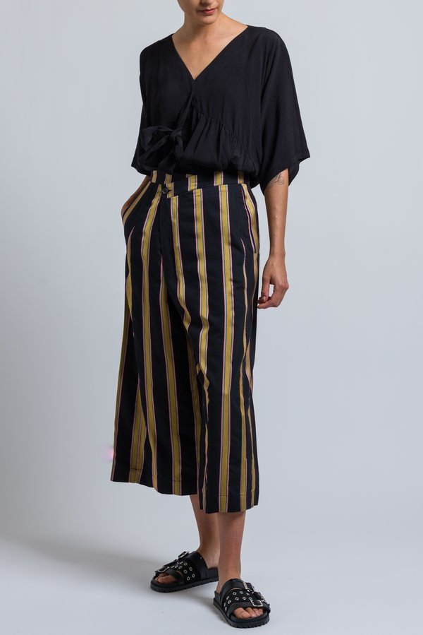 Henrik Vibskov Striped Pound Pants in Black/ Mixed