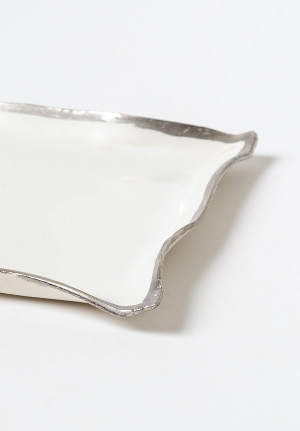 Jan Burtz Square Porcelain Tray with Silver Trim