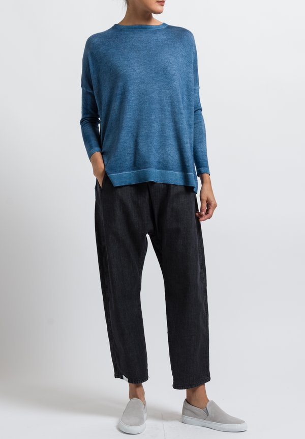 Avant Toi Cashmere/ Silk Relaxed Lightweight Sweater in Deep