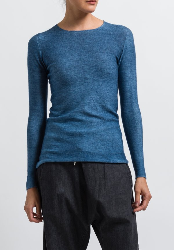 Avant Toi Cashmere/ Silk Fitted Crew Neck Sweater in Deep