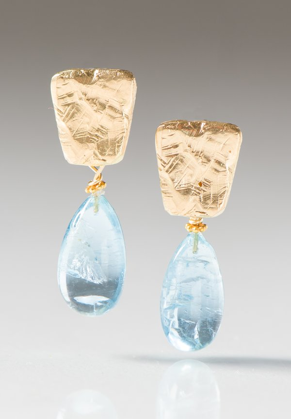 Greig Porter 18K, Aquamarine Drop & Textured Post Earrings