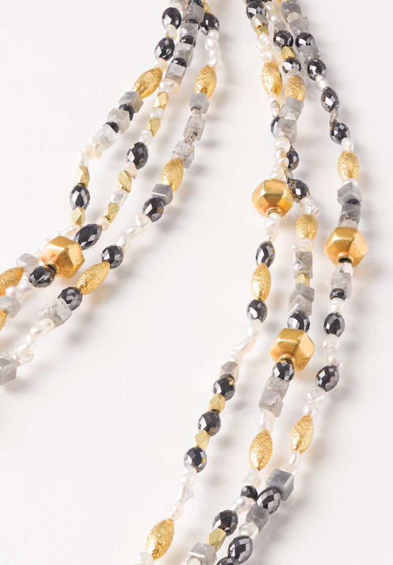 Karen Melfi 18K, Diamond & Pearl Triple Strand Necklace