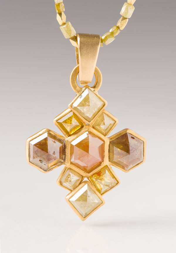 Karen Melfi 22K, Diamond Hex & Square Cross Pendant