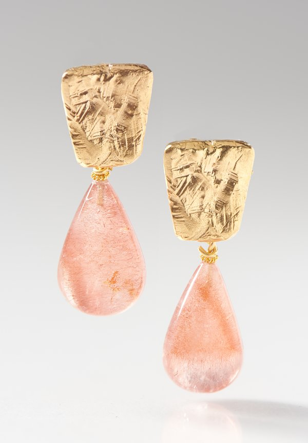 Greig Porter 22K, Sunstone Teardrop Post Earrings
