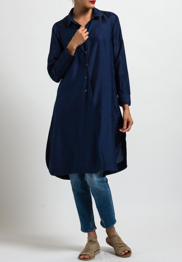 Péro Solid Button-Down Tunic in Navy Blue