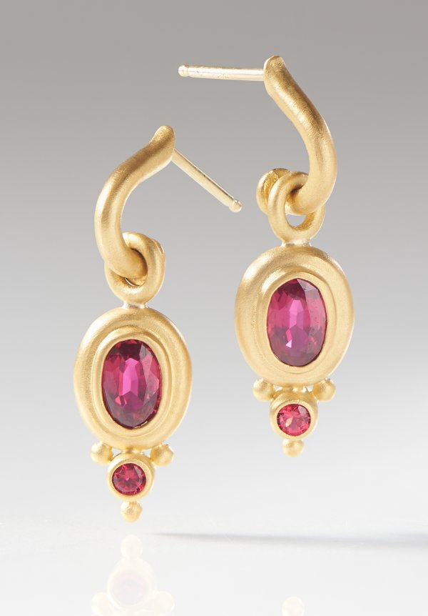 Denise Betesh 22K, Ruby and Red Spinel Half-Hoops