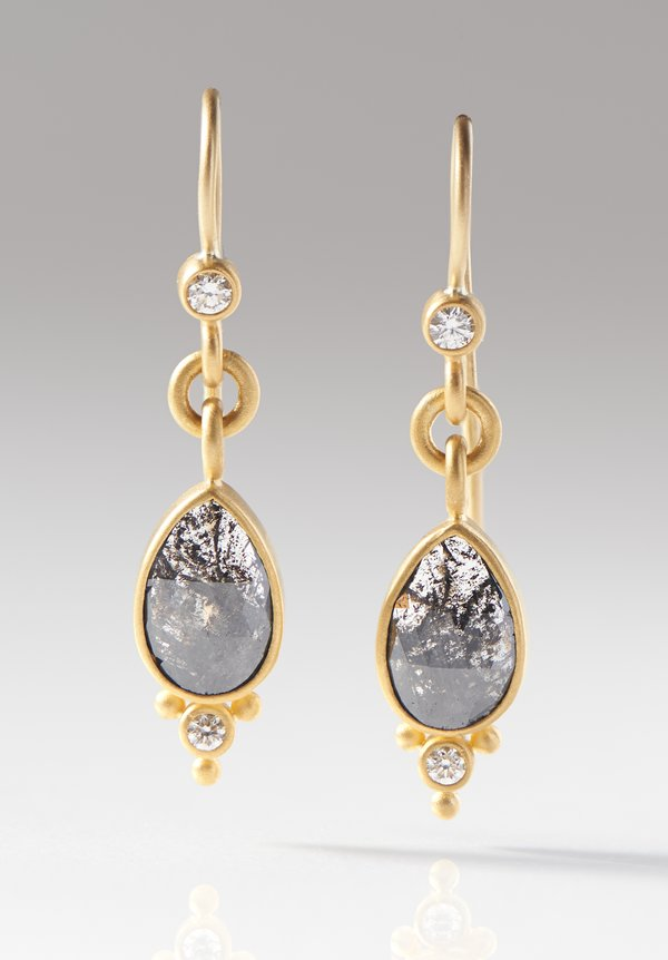 Denise Betesh 22K, Charcoal Rose Cut Diamond Earrings
