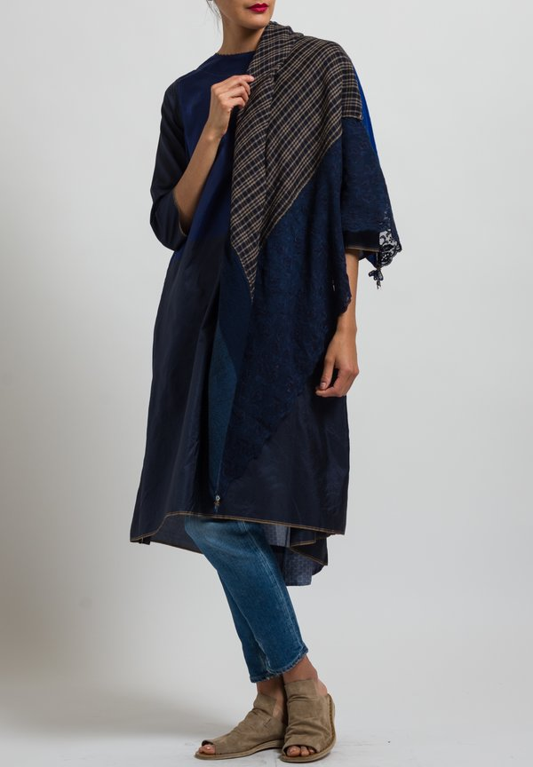 Pero Plaid and Lace Rumal Scarf in Navy / Sand