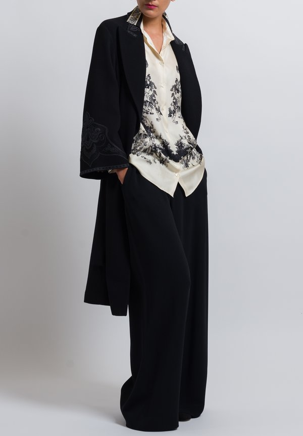 Etro Paisley Embroidered Coat in Black