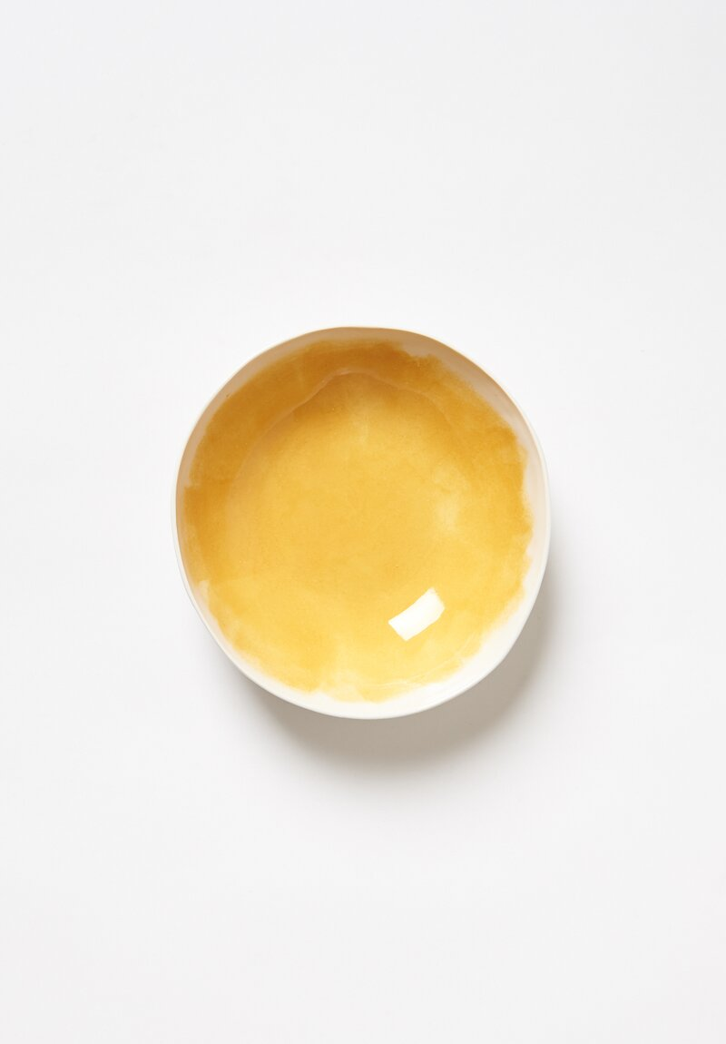 Bertozzi Brush Interior Shallow Porcelain Bowl in Giallo