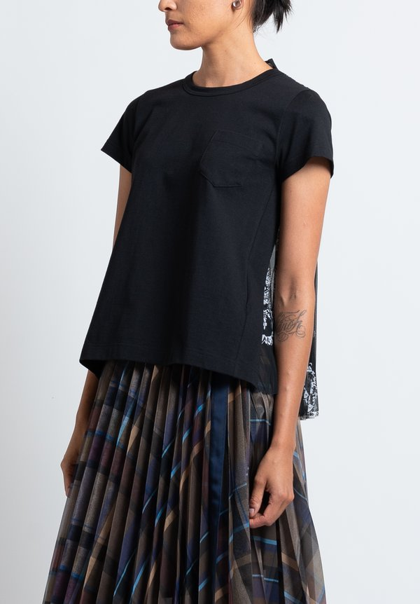 Sacai Pleated Back T-Shirt in Black/Floral