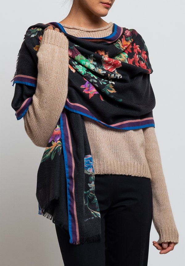 Etro Floral Rectangle Scarf in Black