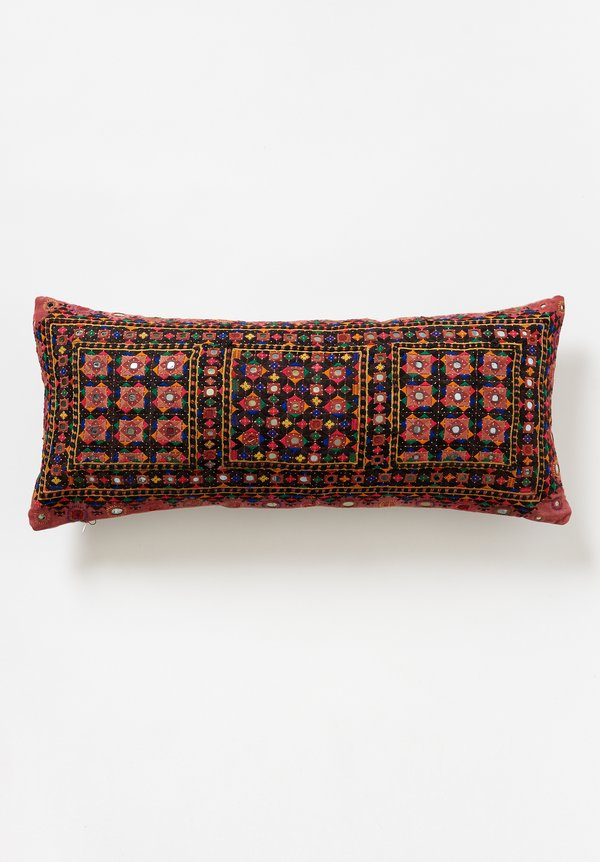 Antique Reshmi Embroidered Lumbar Pillow in Red/Black