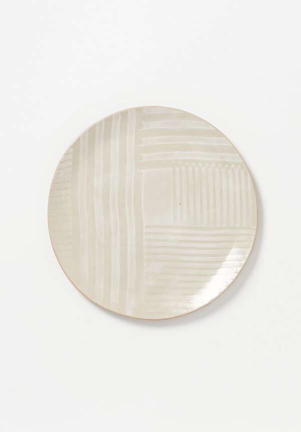 Laurie Goldstein Large Ceramic Dinner Plate in White on White