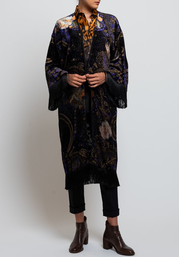 Etro Velvet Paisley & Floral Fringe Jacket in Black/ Purple