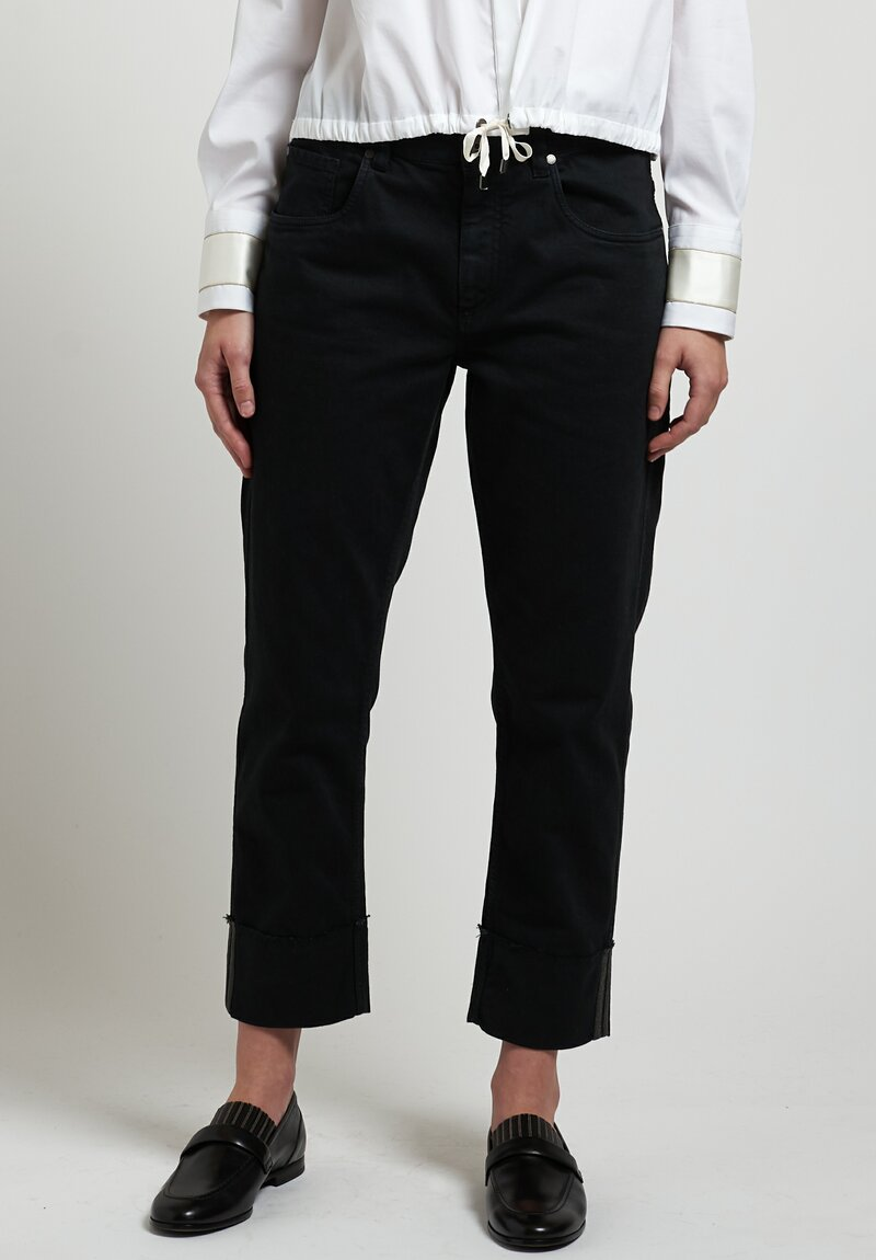 Brunello Cucinelli Cropped Raw Edge Jeans in Black