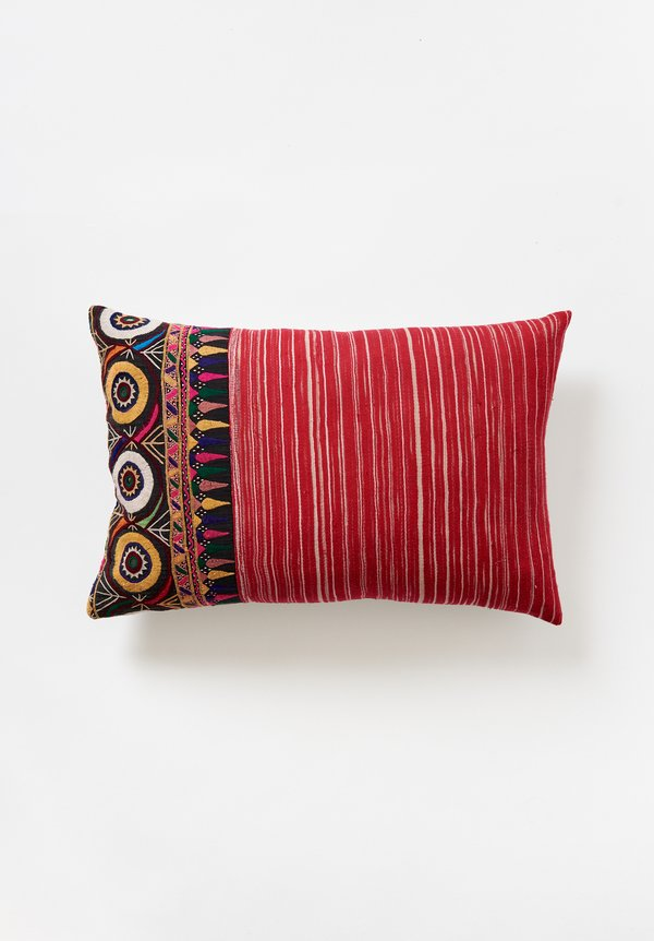 Vintage Raw Silk Mashru Lumbar Pillow in Red