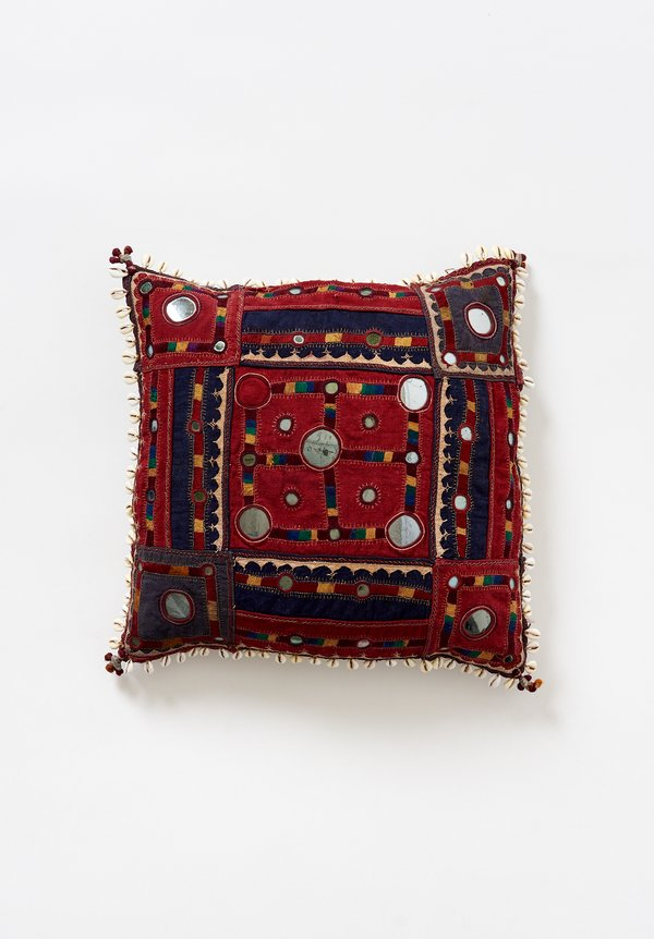 Vintage 16'' Banjara Embroidery, Mirror & Cowry Shell Pillow