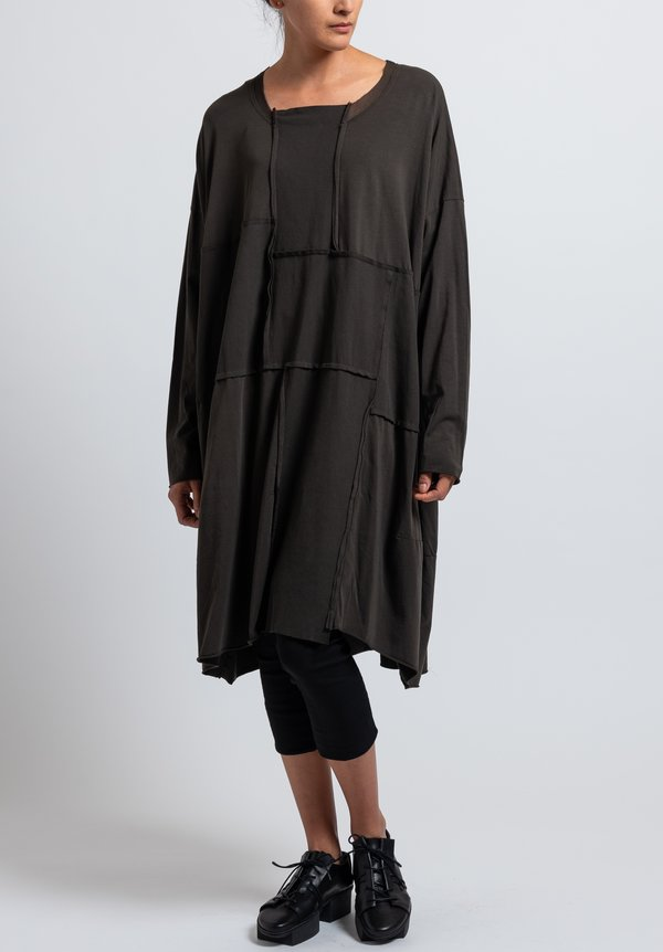 Rundholz Black Label  Oversized Bonded Mesh Dress in Dark Olive