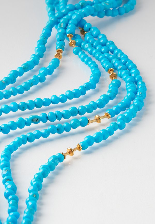 Greig Porter 18K, Sleeping Beauty Turquoise Long 3-Strand Necklace
