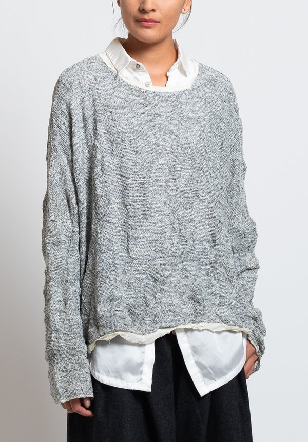 Umit Unal Cotton Loose Knit Slouchy Sweater in Off White
