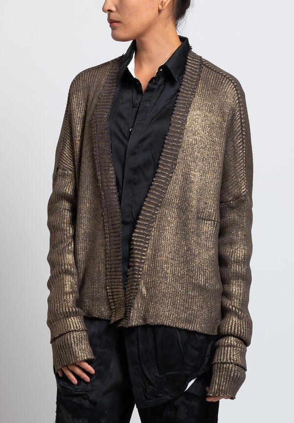 Umit Unal Cotton Metallic Ribbed Knit Cardigan in Mauve
