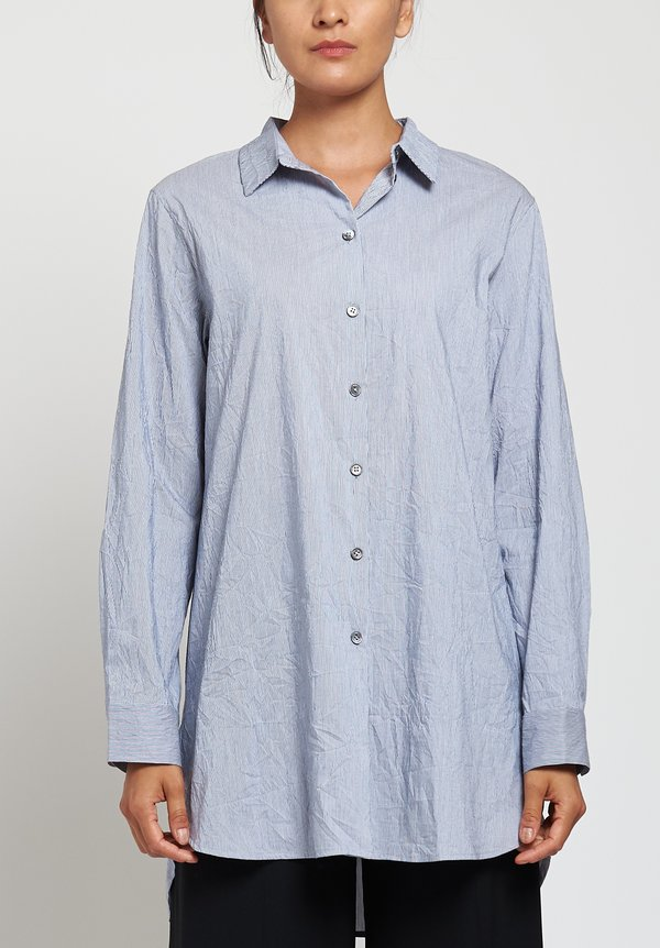 Peter O. Mahler Long Striped Classic Shirt in Grey