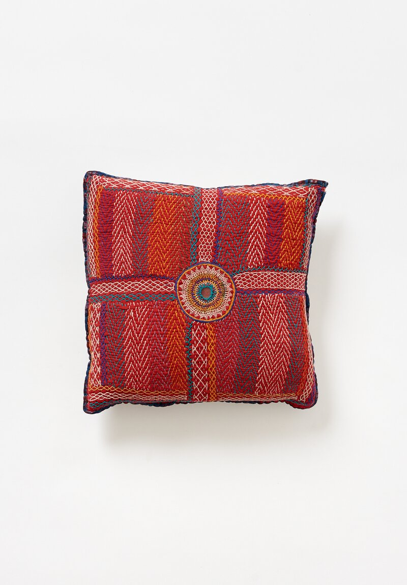Antique and Vintage Small Banjara Quilted Pillow in Red