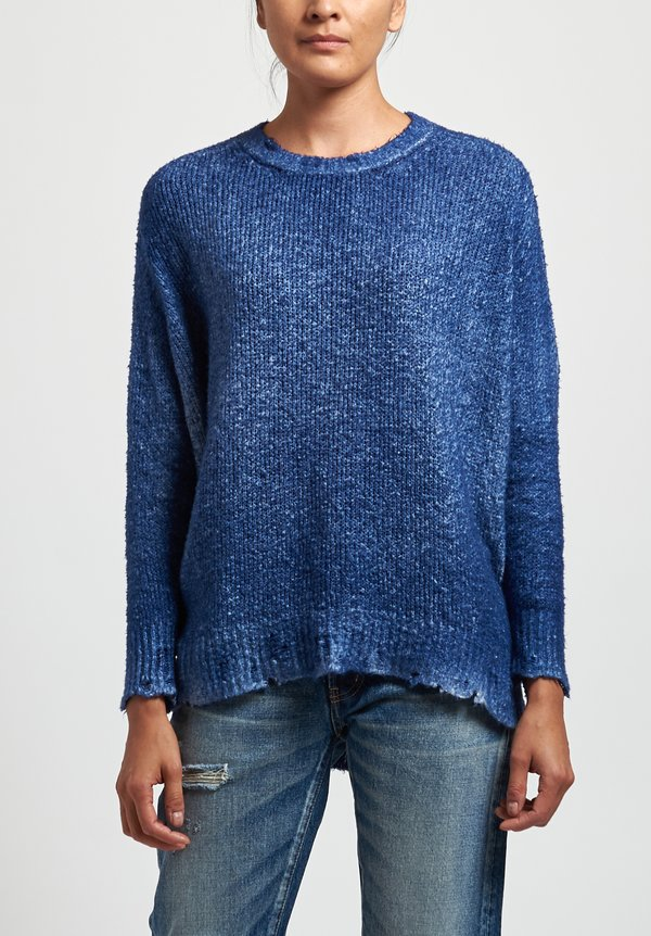 Avant Toi Destroyed Edge Sweater in Denim