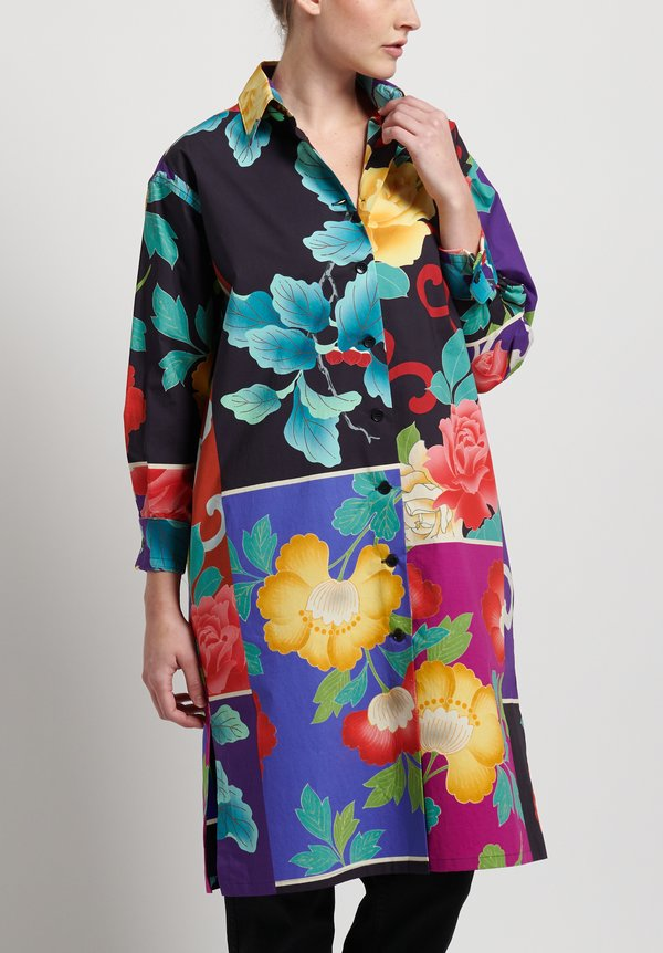 Etro Cotton Flower Tunic Shirt in Black/ Multi